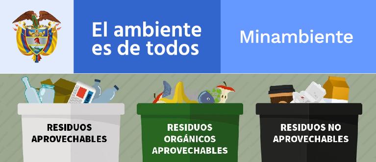 Gobierno Colombiano unifica el código de colores para la separación de residuos en la fuente a nivel nacional